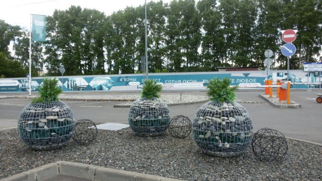 габионы шары в ландшафте