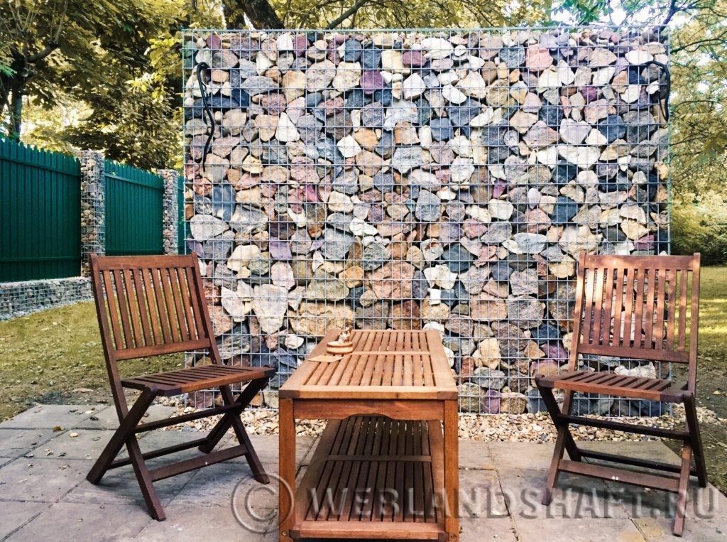 Декоративная стена из габионов